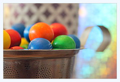 mugshot (overthemoon) Tags: macro colourful bokeh mug strainer metal ceramic cardboard reflective macromondays contained sweets confectionary specialedition perforated