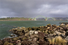 Saturday afternoon:  4/365 (Lostinplace) Tags: oregon newport 365 bridge yaquina saturday jetty beach channel stormy lighthouse
