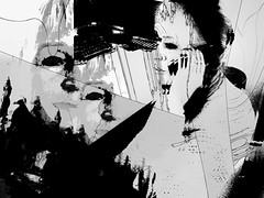 self talk (j.p.yef) Tags: peterfey jpyef yef woman portrait phone phoning abstract abstrakt digitalart iphone photomanipulation bw sw monochrome elitegalleryaoi bestcapturesaoi aoi