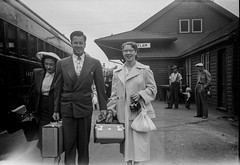 Coquitlam Railway - Vintage Negative (Photo Alan back Feb 12) Tags: vancouver greatvancouver vintage vintagecamera vintagefilm vintagenegative vancouverpeople film blackwhite bw blackandwhite monochrome canada people railwaystation 1930