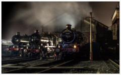 A Trio of Castles (photofitzp) Tags: castleclass collett gwr tyseley 5080 5043 7029 nightphotography railways steam smoke locomotives preservation