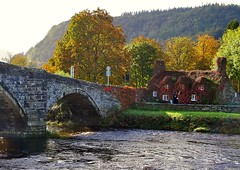 Llanwst (lesleydugmore) Tags: northwales uk bridge trees colour water europe britain cottage hue red gold golden green river quiet peaceful serene llanwst beautiful countryside picturesque tranquil