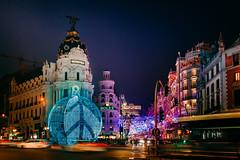 Madrid lights (karolinabat) Tags: madrid night lights le christmas metropolis granvía callealcalá navidad urban city