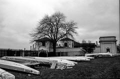Canoe  parked for winter ❄️ (Uta_kv) Tags: ilfordfp4 400iso nikon d76 nikonf2 blackandwhite 28mmlens pushto400 fp4 35mm film homedeveloped
