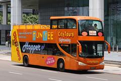 PA9677T, Raffles Boulevard, Singapore, October 11th 2018 (Southsea_Matt) Tags: pa9677t citytourssightseeing rafflesboulevard singapore october 2018 autumn canon 80d sigma 1850mm bus omnibus transport vehicle gemilang scania k380ib