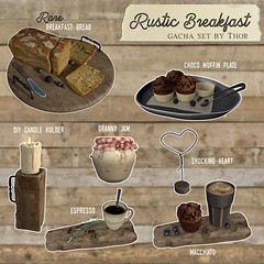 ..::THOR::.. Rustic Breakfast Gacha - Food Court Event - January 04 2020 (andraus thor) Tags: food eat dinner bread coffee espresso latte cappuccino macchiato bistro muffin cupcake blueberries blackberries jam wood old vintage furniture secondlife sl virtual metaverse gacha gatcha gotcha prize key gachakey event candle decor props