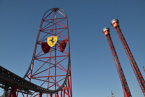 Red Force and Thrill Towers, Ferrari Land, Salou, Spain