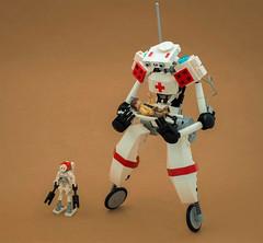 Type-G bipedal ambulance (Tino Poutiainen) Tags: lego moc legobuild model minifigure ambulance medical hospital futuristic scifi space robot mech cute first responder spacejam2019