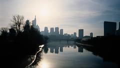 Schuylkill River Scene (Dalliance with Light (Andy Farmer)) Tags: ektachromee100 unicolorrapide6kit philly leicam6 schuylkillriver skyline slidefilm philadelphia 35mm pennsylvania unitedstatesofamerica