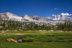 Sunrise Meadow Blues and Greens (RobertCross1 (off and on)) Tags: a7rii alpha ca california cathedralfork e55210mmf4563oss emount highsierra ilce7rm2 mariposa sierranevada sierras sony sunrisehighsierracamp tuolumne vogelsang vogelsangpeak yosemite yosemitenationalpark bluesky clouds forest fullframe hiking landscape meadow mirrorless mountains snow trees mountflorence cathedralrange simmonspeak creek stream