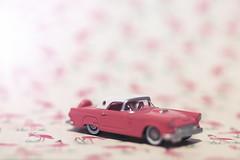 pink flamingo (rockinmonique) Tags: 52weekchallenge2 tiny little miniature mini car tbird pink white flamingocraftpaper moniquewphotography canon canont6s tamron tamron45mm copyright2020moniquewphotography