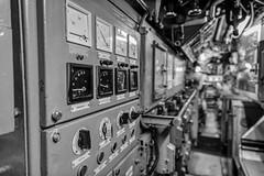 Inside submarine U9, II (flo.niegel) Tags: speyer germany europe submarine uboat navy germannavy watercraft vessel ship underwater commandcenter operations military nikon d850 nikkor240700mmf28 blackwhite sub history historical naval interior u9 hdr