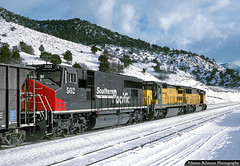 Three Builders Three Railroads (jamesbelmont) Tags: mk5000c c408 sd60m emd ge morrisonknudsen electromotivedivision generalelectric unionpacific chicagonorthwestern southernpacific train railroad railway locomotive soldiersummit gilluly utah snow coal ipsnc