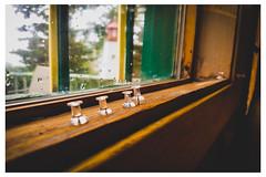 Four Tacks on Windowsill - Diner at the Shore, Nova Scotia - Canada_Web 1_Scaled (johann.kisaame) Tags: bokeh canada closeup macro novascotia ocean perspective restaurants sailing sea shadows waterdrops windows macrophotography maritime shore shoreline tacks thumbtack window windowsill