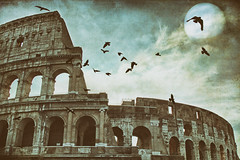 it is perpetual yesterday (1crzqbn) Tags: sliderssunday 1crzqbn moon textures colosseum birds awardtree crows