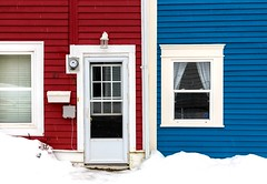 Red & Blue Neighbours (Karen_Chappell) Tags: red blue white house home nfld stjohns newfoundland architecture trim wood wooden paint painted clapboard rowhouse door window snow winter city urban atlanticcanada avalonpeninsula eastcoast downtown black color colour