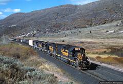 Nearing the Top (jamesbelmont) Tags: riogrande drgw southernpacific unionpacific soldiersummit utah train railroad railway locomotive tunnelmotor sd40t2 mrodv pointhelper helperengine sd40m2