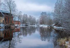 Winter Riverscape (bjorbrei) Tags: water shore river stream calm tranquil reflections trees oldbuildings snow frost winter frysja brekkedammen kjelsås akerselva akerriver oslo norway