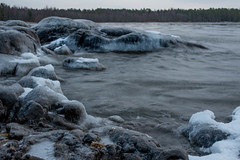 The cold sea (Mika Lehtinen) Tags: sea water ice rocks waves cold january night