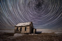 Passing Time (Erik Johnson Photography) Tags: purple nebraska schoolhouse abandoned long exposure star trails night astrophotography nikon d810 valentine great plains stars sky polaris winter snow