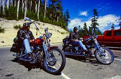 Bikers in Mt St Helens NP (Mister Electron) Tags: nikonf301 sigma1735mmafd mtsthelens nationalpark usa unitedstatesofamerica washingtonstate wa bikers motrobikes harleydavidson easyrider chrome chromium polished shiny sparkling vibrant twowheels touring motorcycles ultrawideangle spokes americana america northamerica kodake100s ektachrome slides diapositive transparency film 35mm 35mmfilm 100asa analogue silverhalide colourslide colorslide slr 35mmslr 1999 travel travelphotography