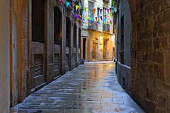 Barceloneando: Carrer De Grunyí (Fnikos) Tags: street wall brick door window narrow light color colour colores colours colors barcelona night nightshot nightview outside outdoor