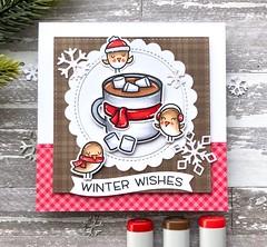 Winter Wishes (The Queen's Scene) Tags: card cardmaking colorthrowdown winter lawnfawn thanksalatte handmadecard papercrafting bird thinkingofyou