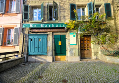 Old town Lausanne, Switzerland (` Toshio ') Tags: toshio lausanne switzerland europe european swiss oldtown store barber shop window door cobblestone fujixt2 xt2 fuji history architecture shutter tree city