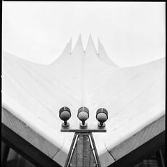 Berlin - Tempodrom (I) (Maximilian Busl) Tags: blackandwhite film ilford hp5plus berlinkreuzberg berlin deutschland architecture hasselblad 500cm zeiss distagon cloudy foggy