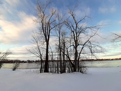 Winter.... (angelinas) Tags: weather clouds trees snow landscapes skyline river rivieredesprairies canada quebec outdoor paysages sky nuages still moody earthy