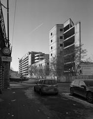 Wrocław, Poland. (wojszyca) Tags: intrepid camera 4x5 largeformat fujinon sw 90mm ilford hp5 hc110 163 epson v800 city urban architecture abandoned ruins decay concrete wrocław