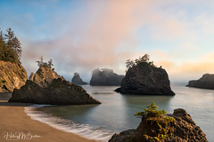 Foggy sea stack sunset (Hilary Bralove) Tags: oregon oregoncoast seastacks seascape nikon nature landscape pacificnorthwest pacific pacificocean