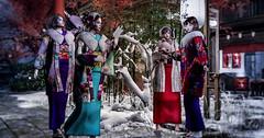Meet with 2 Pairs (Miyabi Harucus 1102) Tags: friend fashion fantasy forest kimono maitreya catwa genus tonarinosim situation scene theme