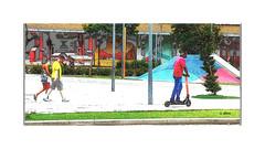A calçada (o.dirce) Tags: calçada rua cidade pessoas patinete centrodorio dirce odirce