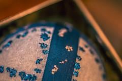 Sparkling Blue (Carol (vanhookc)) Tags: styrofoam ball ornament glitter vintage madeinthe60s contained macromondays