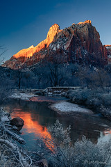 Second Zion Sunrise (dan@propeakphotography.com) Tags: america blue blueskies colors courtofthepatriarchs famousplace geologicformation internationallandmark landscape nps nationalpark nature northamerica orange red river rocks springdale thesentinel touristattraction travel traveldestination travelandtourism trees usa unitedstates utah virginriver water winter yellow zionnationalpark mountain snow unitedstatesofamerica elitegalleryaoi bestcapturesaoi aoi 200faves