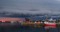 Incoming !!! (Jamie McCaffrey) Tags: sunset storm newfoundland boat dusk maritime bonavista weather clouds seaside newfoundlandandlabrador canada atlanticcanada pier dock fishingboat