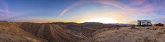 Camping On the Edge. (slworking2) Tags: anzaborregodesertstatepark anzaborrego california californiastateparks desert sandiego camping rv camper campsite boondocking panorama badlands sunset clouds sky barren trailer