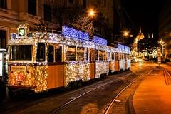 The light tram from Budapest 🚋💕🌟 (My colourful world️) Tags: canon1300d budapest lighttram winter festive parliament beautiful lights