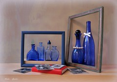 Family Portraits (Esther Spektor - Thanks for 16+millions views..) Tags: art composition creativephotography fantasy imagination stilllife naturemorte bodegon naturezamorta stilleben naturamorta tabletop allegory frame bottle book photos glass bow necklace wooden white red blue cobalt grey black estherspektor canon family portrait conceptual contemporary