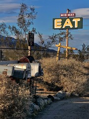 Eat (Karol Franks) Tags: california roadside mailboxes roadtrip cowboybarbecue sign eat cafe pearsonville mojave