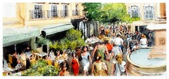 Aix-en-Provence Provence France (guymoll) Tags: aix aixenprovence provence france croquis sketch panoramique panoramic people foule personnages restaurant terrasse café fontaine aquarelle watercolour watercolor aguarela acuarela