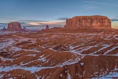 monument valley (FollowingNature (Yao Liu)) Tags: arizona followingnature sunset redrocks snow monumentvalley