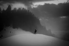silence (matwolf) Tags: winter blackandwhite noiretblanc schwarzweis monochrome mono outside outdoor snow neige schnee people mountains berge montagne wood forest wald absoluteblackandwhite