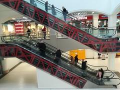 Going up, or going down. (daveandlyn1) Tags: darwincentre escalators shrewsbury shops p8lite2017 pralx1 imagetakenwithahuaweip8 huawei smartphone psdigitalcamera cameraphone