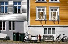 Norway: Mandal street (Henk Binnendijk) Tags: norway norge scandinavia scandinavië noorwegen mandal vestagder dwwg windows fenetres street scooter bicycle houses
