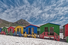 Beach cabins (Tjaldur66) Tags: beach sand beachcabins mountains clouds travel outdoor sightseeing southafrica westerncape falsebay muizenberg