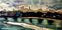 Powerboat in Miami (The Big Jiggety) Tags: painting oil art arte kunst peinture huile toile tela oleo pintura miami usa america boat skyline water eau agua aqua wasser
