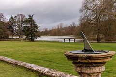 Time for a walk by the river (Keith now in Wiltshire) Tags: sundial time lacockabbey nationaltrust wiltshire river avon stream spate park tree dog walking grass landscape flood burst banks water
