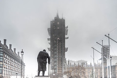 Wrapping (100 Real People) Tags: nikond750 nikkor35f20 bigben housesofparliament mist fog morning sculpture statue churchill london londontown westminster